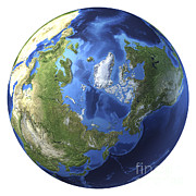 Global Digital Art - 3d Rendering Of Planet Earth, Centered by Leonello Calvetti