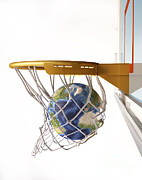 Basket Ball Digital Art Prints - 3d Rendering Of Planet Earth Falling Print by Leonello Calvetti