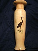 Gardening Sculptures - 409 - Handcrafted Pecan Vase With Wooden Inlay Of Heron Was Made From Reclaimed Wood by Jack Lewis