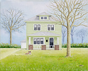 House Portrait Prints - 55th Street House Print by Christine Belt