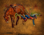 Cowboy Digital Art Prints - 6 Second Ride...2 Second Landing Print by Robert Albrecht