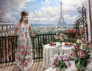 Eifelturm Prints - A balcony in Paris Print by Dmitri Kulikov