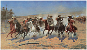 Remington Prints - A Dash for the Timber Print by Frederic Remington