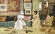 Cushions Painting Framed Prints - A Friendly Call Framed Print by William Merritt Chase