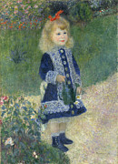 1876 Paintings - A Girl With a Watering Can by Auguste Renoir