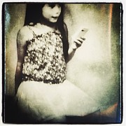 Cellphone Photo Prints - A girl with iPhone Print by Elena Nosyreva