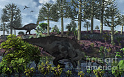 Bare Trees Posters - A Pair Of Herbivorous Camptosaurus Poster by Mark Stevenson