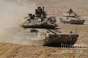 Battletank Prints - A Pair Of Israel Defense Force Merkava Print by Ofer Zidon
