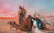 Red Sky Paintings - A Rest in the Desert by Otto Pilny