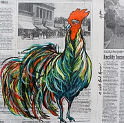 Drawn Mixed Media Prints - A Well Read Rooster Print by Janice Rae Pariza