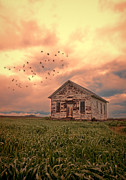 One Room Schoolhouse Prints - Abandoned Building in a Storm Print by Jill Battaglia