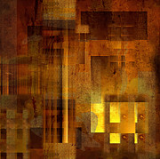 Acrylic Art Posters - Abstract in Brown with Light  Poster by Kristin Kreet