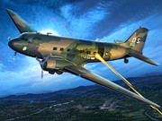 Vietnam Air War Art Metal Prints - AC-47 Spooky Metal Print by Stu Shepherd