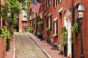 Brownstone Framed Prints - Acorn Street Boston Framed Print by Brian Jannsen