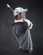 Pga European Tour Prints - Adam Scott Print by Mark Robinson