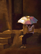 Umbrella Pastels Prints - Adobe Sun Print by David Patterson