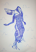 Cloth Drawings Posters - Adowa Dance - Ghana Poster by Gloria Ssali