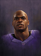 Vikings Digital Art Framed Prints - Adrian Peterson Framed Print by Derek Wehrwein