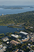 Husky Stadium Prints - Aerial view of the new Husky stadium Print by Jim Corwin