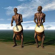 Drummers Digital Art Metal Prints - 2 African Drummers Metal Print by Walter Neal