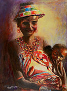African Child Originals - African Mother and Child by Sher Nasser
