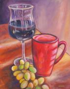 Wine Glass Paintings - After Dinner Treats by Eve  Wheeler
