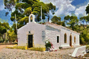 Trip Paintings - Agia Paraskevi chapel in Spetses island by George Atsametakis