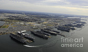 Enterprise Posters - Aircraft Carriers In Port At Naval Poster by Stocktrek Images
