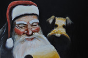 Saint Nicholas Paintings - Airedale Christmas by Ruben Barbosa