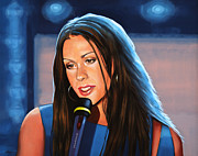 Singer Songwriter Painting Framed Prints - Alanis Morissette  Framed Print by Paul  Meijering
