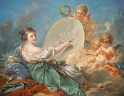 Putto Prints - Allegory of Painting Print by Francois Boucher