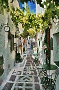 Ios Framed Prints - Alley in Ios island Framed Print by George Atsametakis