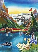 Montana Wildlife Paintings - Alpine Lake Sunrise by Harriet Peck Taylor