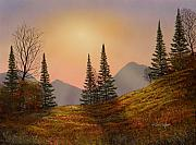 Watercolor And Gouache Paintings - Alpine Sunset by Frank Wilson