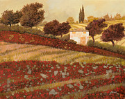 Farm House Paintings - altri papaveri in Toscana by Guido Borelli