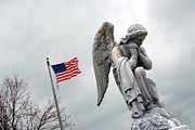 Catholic Art Photo Originals - American Flag and Angel Fairview Cemetery Jasper Indiana 2008 by John Hanou