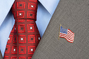 Black Tie Posters - American Flag lapel Pin Poster by Joe Belanger