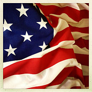 Independence Photo Posters - American flag Poster by Les Cunliffe