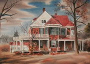 Haunted House Mixed Media Metal Prints - American Home III Metal Print by Kip DeVore