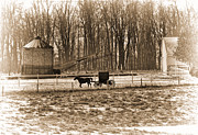 Horse And Buggy Prints - Amish Buggy and Corn Crib Print by David Arment