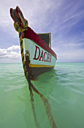 Kite Surfing Metal Prints - Anchored Colorful Fishing Boat of Aruba II Metal Print by David Letts