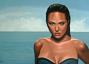 Beautiful Woman Painting Posters - Angelina Jolie Poster by Paul Meijering