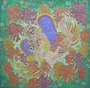 Baby Jesus Pastels Prints - Angels Making The Flowers Bloom Print by Lyn Blore Dufty