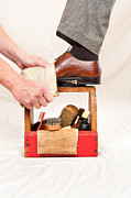 Wooden Ware Posters - Antique shoe shine box and worker Poster by Joe Belanger
