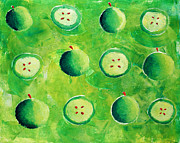 Tangy Painting Prints - Apples in Halves Print by Julie Nicholls