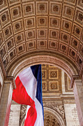 Flags Flying Prints - Arc de Triomphe Print by Brian Jannsen