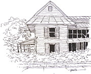 Florida House Drawings Posters - Arcadia Florida Old House Poster by Robert Birkenes
