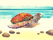 Hawaii Sea Turtle Paintings - Arrival by Frances Ku