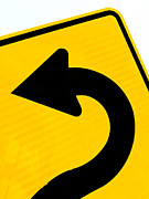 Directional Signage. Prints - Arrow on roadsign pointing left for betterment Print by Stephan Pietzko