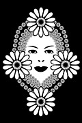 Black And White Floral Art - Art Nouveau Woman by Frank Tschakert